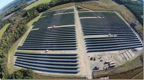 One of Cypress Creek Renewables' solar projects is near Elm City, N.C. The 50-acre Upchurch Solar Center can produce about 5 megawatts of AC power daily. (Photo/Provided)