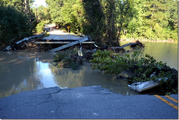 A bridge is washed out on Rockbridge Road near Trenholm Road and Decker Boulevard. (PhotoChuck Crumbo)