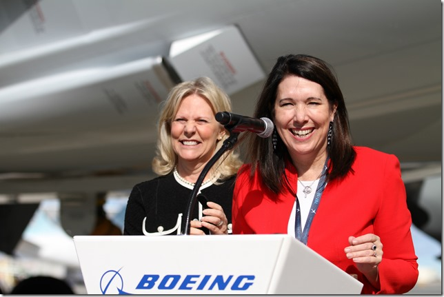 Beverly Wyse (right), vice president and general manager of Boeing S.C., was joined by Terri Pope, American Airlines' operations vice president in Charlotte, who took delivery of American's new 787 built in North Charleston. (Photo/Kim McManus)