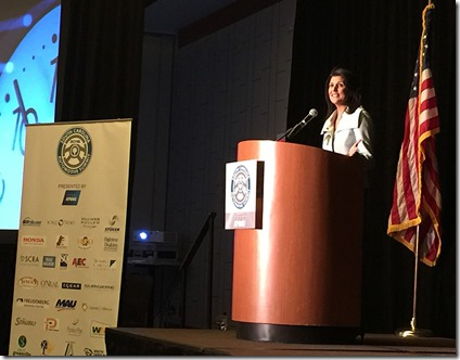 S.C. Gov. Nikki Haley addresses a crowd at the S.C. Automotive Council's Auto Week, today, at the Hyatt Regency Greenville in downtown Greenville. (Photo by Matthew Clark)