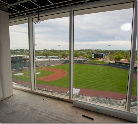 Large, glass-fronted conference rooms of Ogletree Deakins new offices offer a view of Spirit Communications Park. (Photos/Jeff Blake)