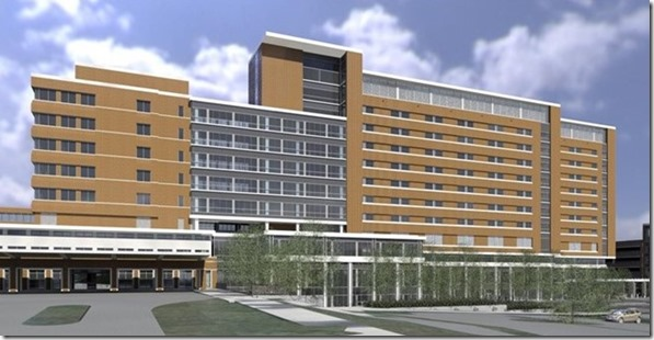 The 10-story, 545,000-square-foot tower (top) planned for Lexington Medical Center will add 71 beds and eight operating rooms. The project also will include (below) a new lobby. (Images/Provided)
