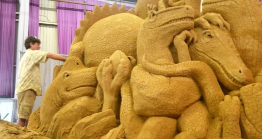 Life's always a bit of a beach for sand sculpting duo