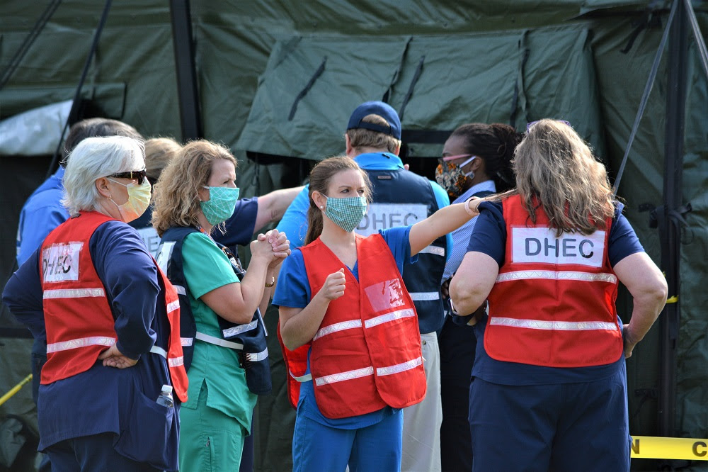 Nurses work at a recent DHEC mobile COVID-19 testing clinic. (Photo/Provided)