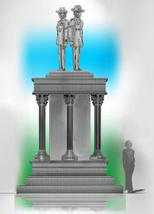 The centerpiece of Centennial Park will be a 20-foot-tall statue of a male and female drill sergeant. (Image/Provided)