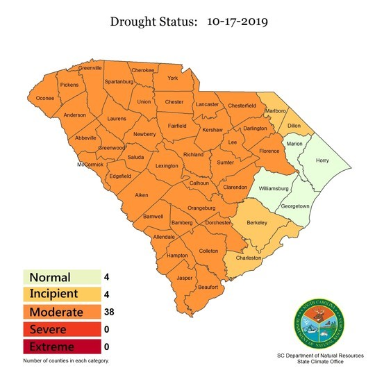 A majority of S.C. counties maintained moderate drought status as declared by the S.C. Drought Response committee. (Image/Provided)
