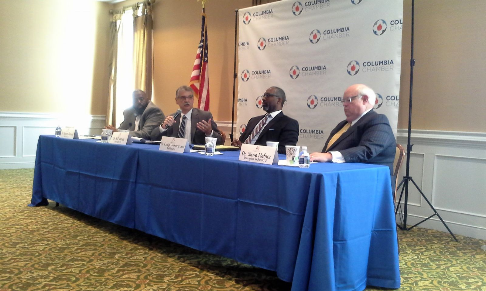 Education superintendents from school districts in the Midlands talk about the challenges faced by schools during a Columbia Chamber of Commerce panel discussion. (Photo/Travis Boland)