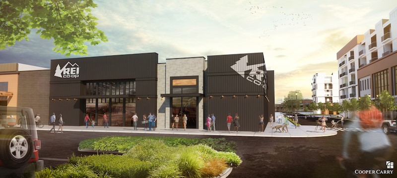 A rendering of the 20,000-square-foot REI Co-op outdoor outfitter store planned for the BullStreet District. (Image/Provided)