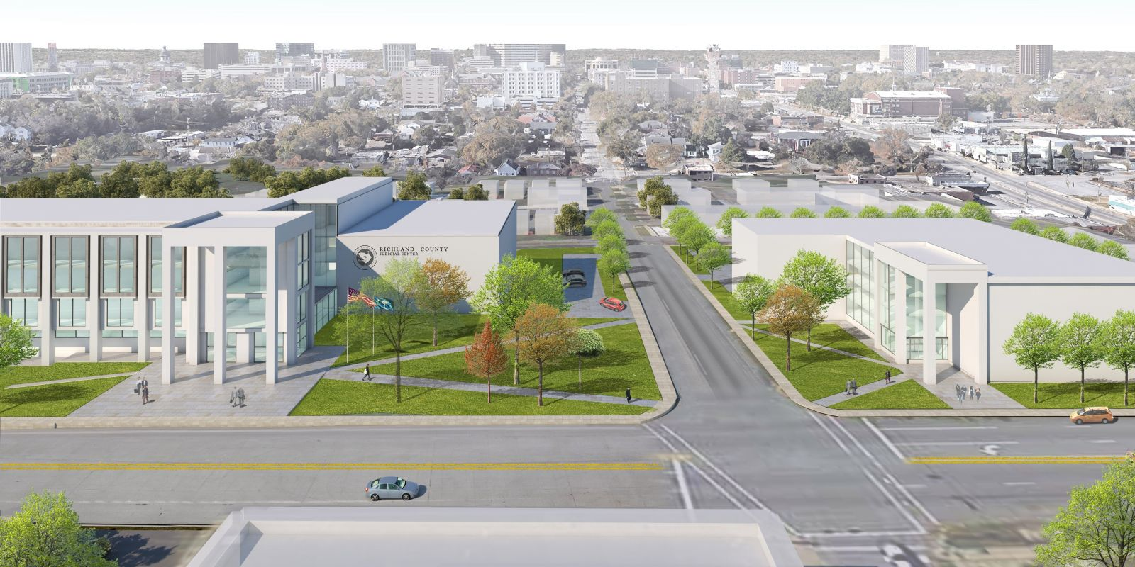 A rendering of the proposed downtown courthouse and judicial complex at 2020 Hampton St., part of the Richland Renaissance project. Richland County Council voted to indefinitely defer the project on Thursday. (Photo/Provided)