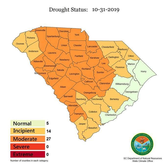 The S.C. Drought Response Committee downgraded the drought status of 11 counties on Thursday. (Image/Provided)