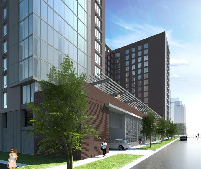 A street view of the southwest corner of the proposed 15-story apartment building, The Edge, to be located at the corner of Assembly and Washington streets. (Rendering/Provided)