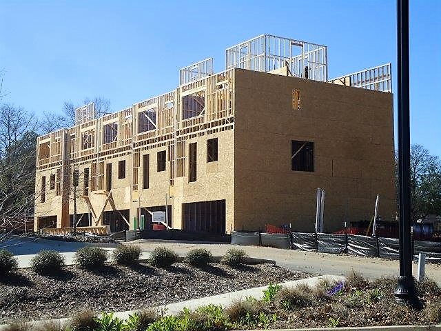 Construction continues on TownPark at BullStreet a group of 28 three-story townhomes.