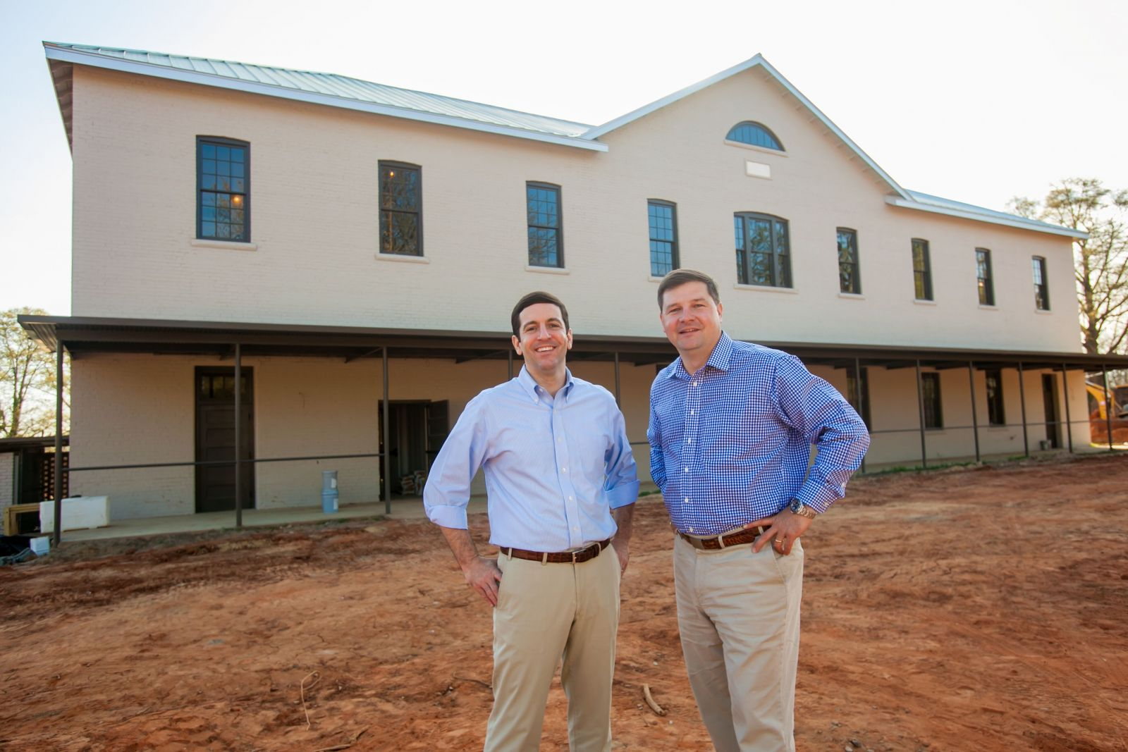 Bowen Horger (left) and Will Batson of Diversified Development bought the Parker Annex in October and have repurposed the building for office space. (Photo/Jeff Blake)