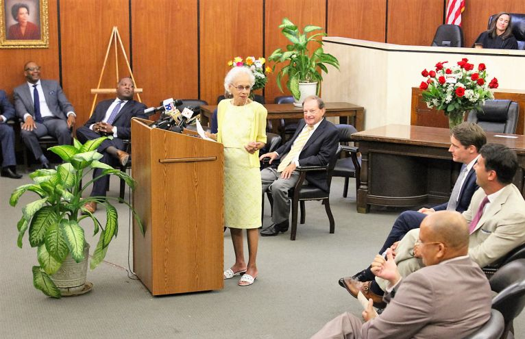 Ada Harper James, 85, speaks during a ceremony renaming Courtroom 2B at the Richland County Judicial Center in her honor.  (Photo/Provided)