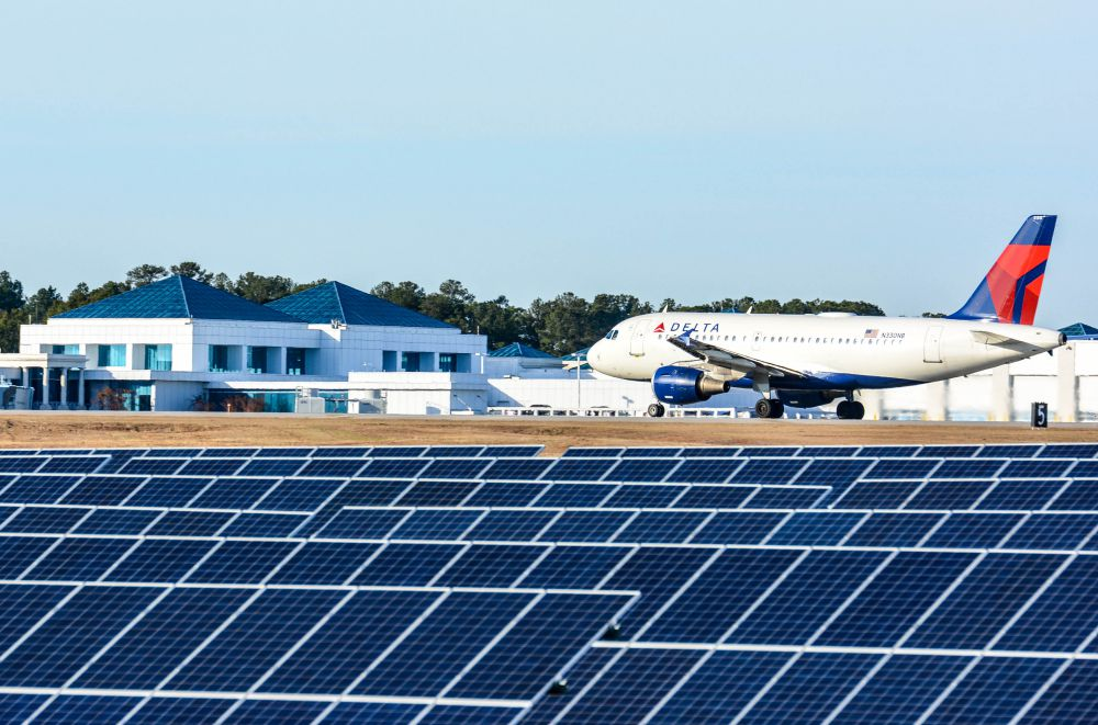 Nearly 4,400 photovoltaic panels that can generate 1 megawatt of power cover 5 acres at Columbia Metropolitan Airport. The solar farm, built on unusable land, cost $2.5 million. (Photo/Chuck Crumbo)