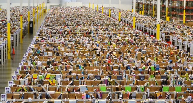 Employees work at Amazon's 1.25-million-square-foot fulfillment center in West Columbia. (Photo/Provided)