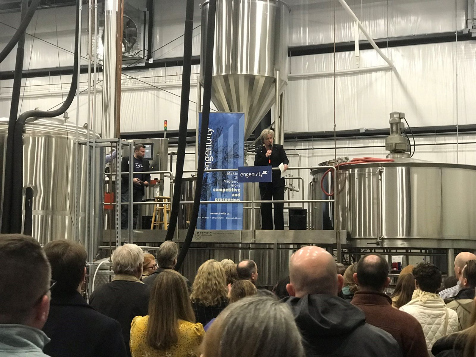 Cayce Mayor Elise Partin addresses attendees of Breweries: Community Catalysts at Steel Hands Brewing. (Photo/EngenuitySC)