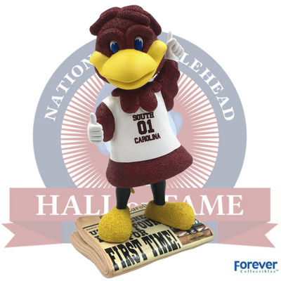 The limited edition South Carolina men's basketball Final Four bobblehead features Cocky preening atop a newspaper. (Photo/Provided)
