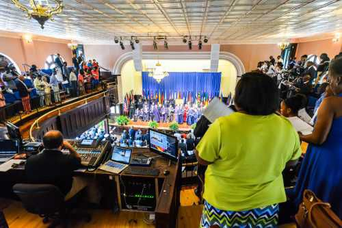 Hundreds of people attended the June 24 rededication of Chappelle Auditorium.
