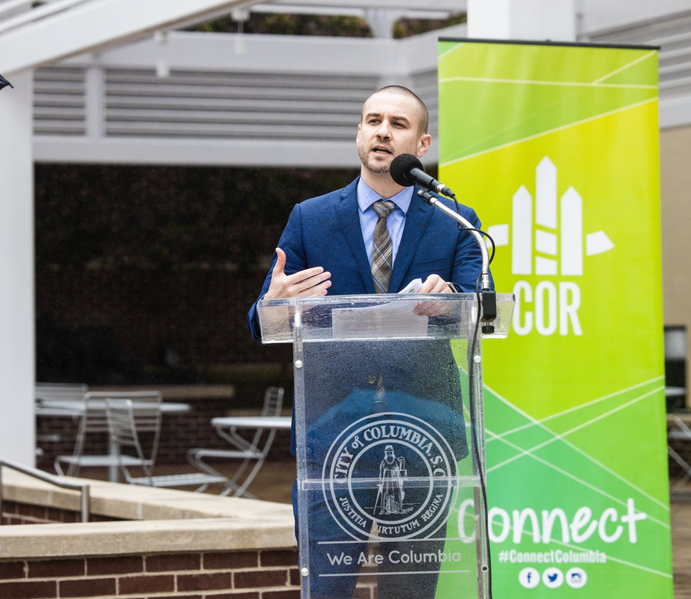 Ryan Coleman, director of the city of Columbia's economic development office, speaks at Tuesday's news conference launching Crash Course Columbia. (Photo/Forrest Clonts)