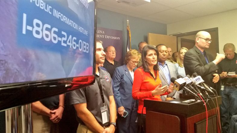 Gov. Nikki Haley urges S.C. coastal residents to evacuate during a media briefing on Thursday morning. (Photo/Provided)