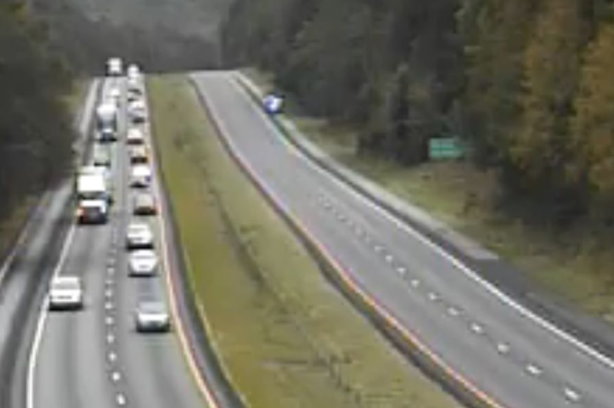 At about 2:15 p.m. today authorities had closed the eastbound lanes of I-26 near the Lexington-Calhoun county line while westbound traffic slowed approaching Columbia. (Photo/SCDOT traffic cam)