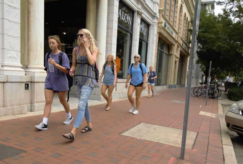 The continued growth of the University of South Carolina and an explosion in residential student housing options has increased student visibility in downtown Columbia. (Photo/Chuck Crumbo)