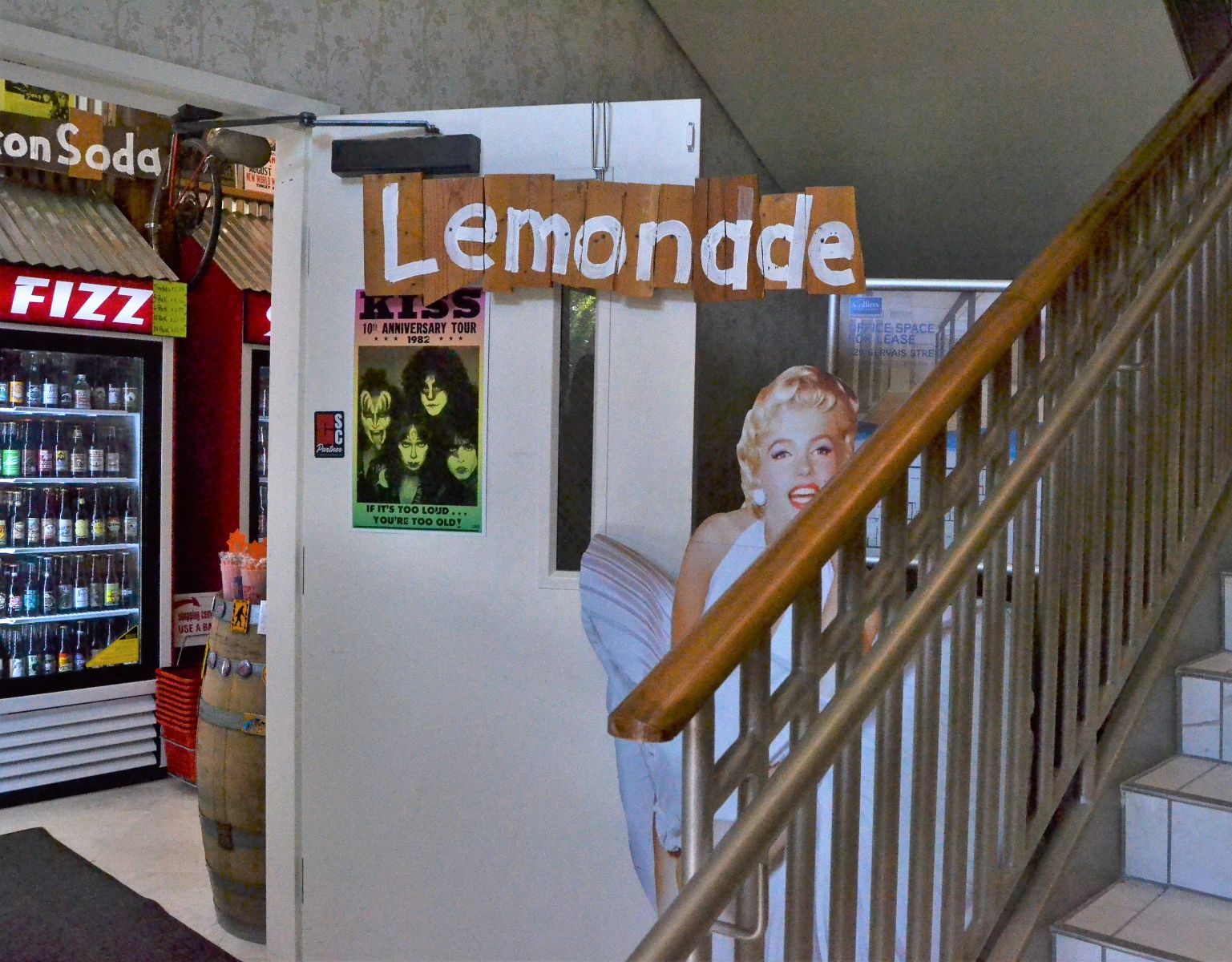 A cutout of Marilyn Monroe greets visitors to candy and soda shop Rocket Fizz. (Photo/Melinda Waldrop)
