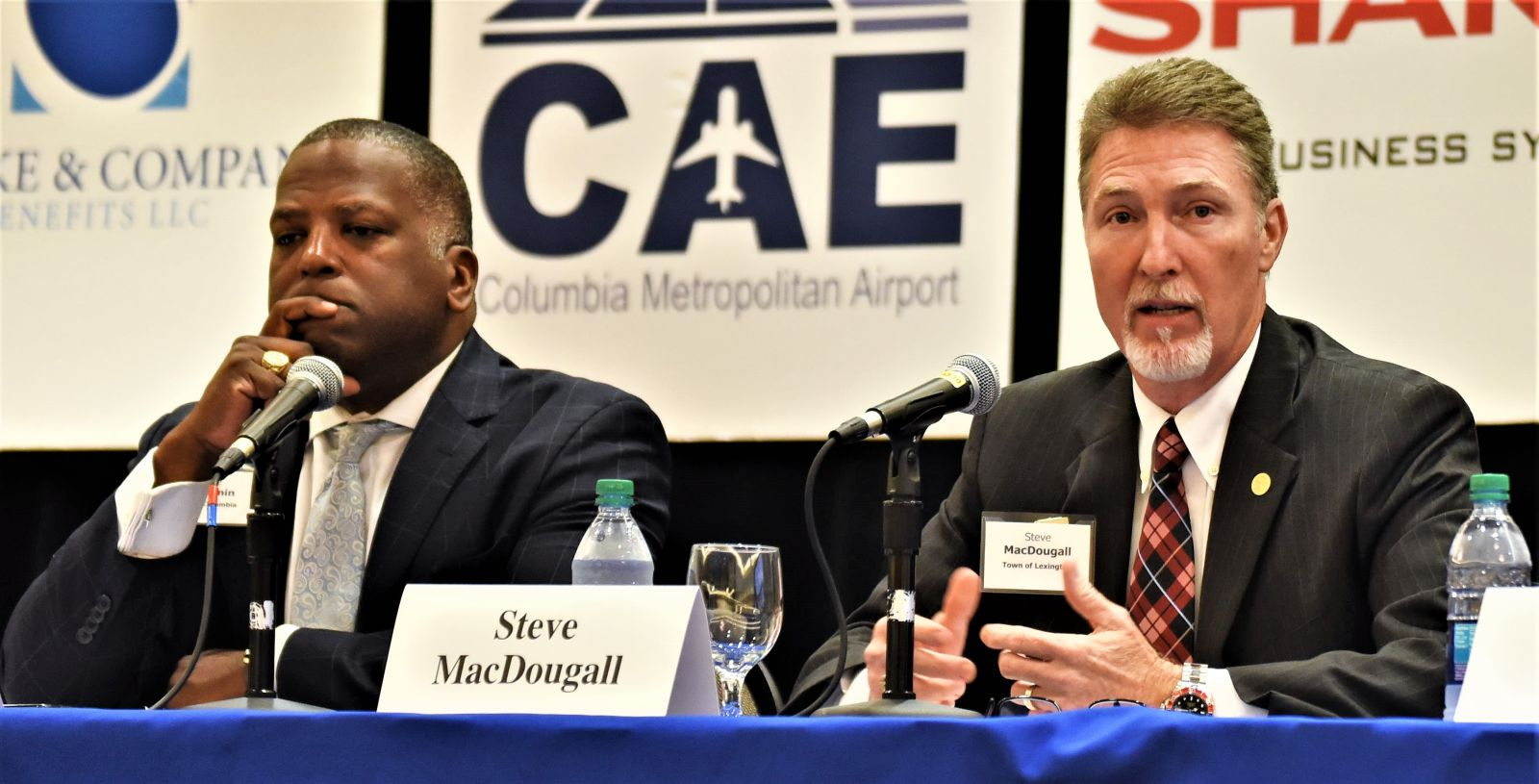 Columbia Mayor Steve Benjamin (left) and Lexington Mayor Steve MacDougall each spoke about cybersecurity during a Power Breakfast hosted by the Columbia Regional Business Report held this morning at the Doubletree by Hilton. (Photo/Chuck Crumbo)