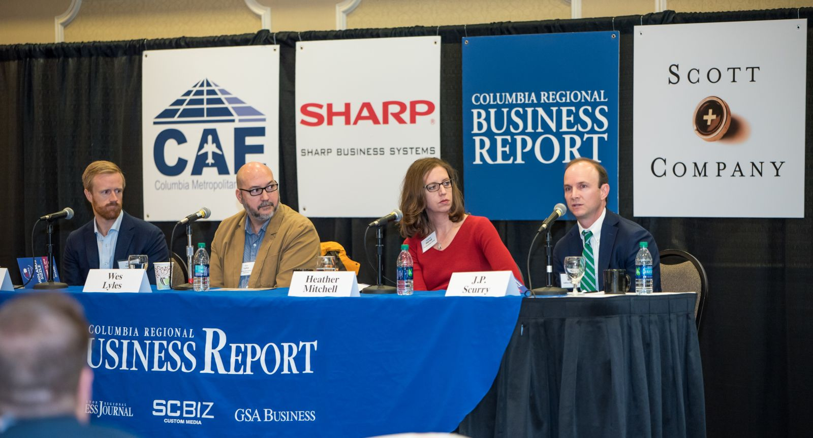 Power Breakfast panelists (left to right) Frank Cason, Wes Lyles, Heather Mitchell and J.P. Scurry discuss area growth opportunities and challenges. (Photo/Kathy Allen)