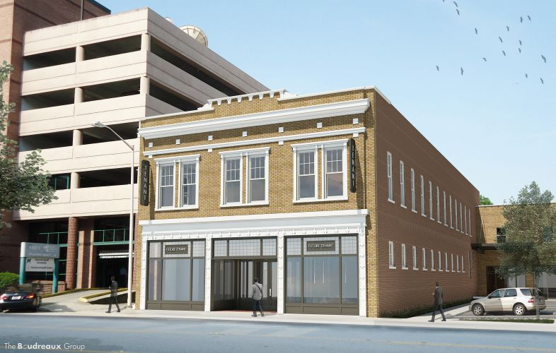 The street view of the proposed renovations of the former Powell Building at 1519 Sumter St. Plans for Hotel Trundle, a 41-room boutique hotel,  were announced Monday. (Image/Provided)