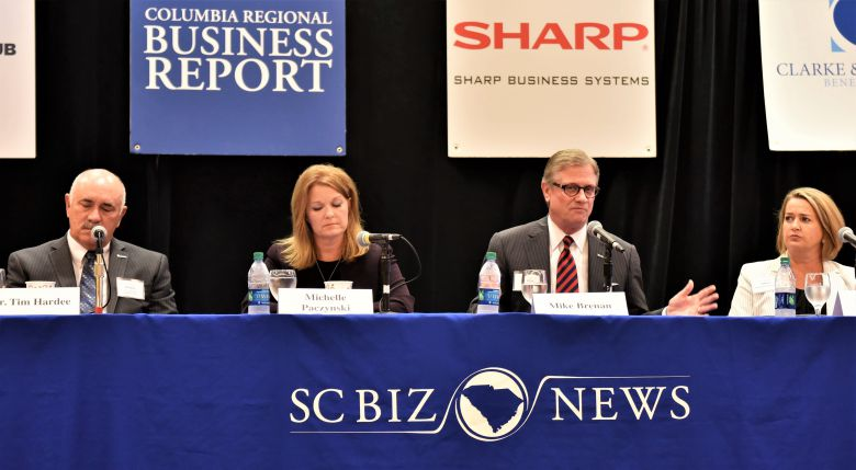 BB&T state president Mike Brenan, third from left, makes a point during this morning's Power Breakfast Series about the need to transform the state public school system to prepare students for tomorrow's jobs. Other members of the panel, hosted by the Columbia Regional Business Report, are from left, Tim Hardee, president of the S.C. Technical College System; Michelle Paczynski, a deputy director at the S.C. Department of Employment and Workforce; and Brenda Hafner, principal of Blythewood High School. (Photo/Chuck Crumbo)