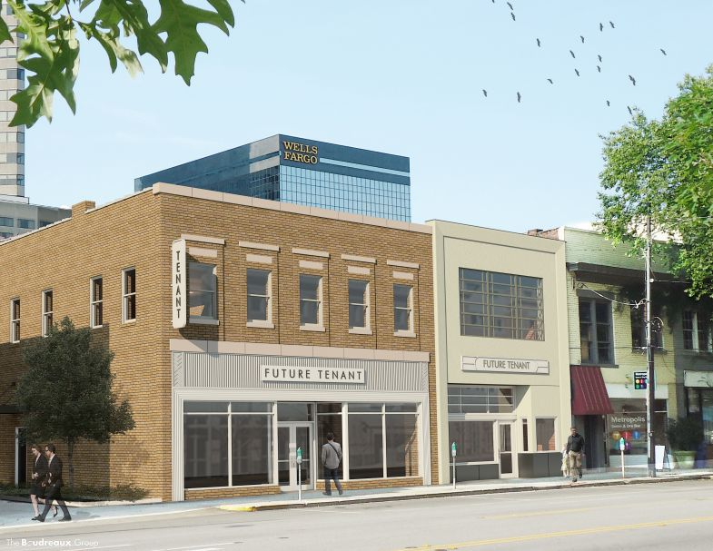 A view from Taylor Street of the proposed renovations to the former sites of the Rose-Talbert Paints and Western Auto buildings. A boutique hotel is planned for the location. (Image/Provided)