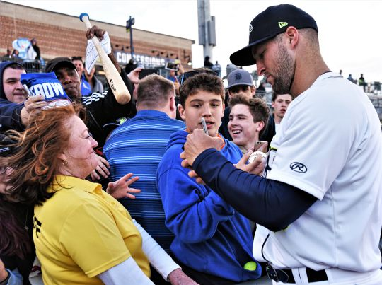 From the first day he showed up in Columbia, Tim Tebow has been a fan favorite. On Monday, he was promoted to the Mets' minor league team in Florida. (Photo/Chuck Crumbo)