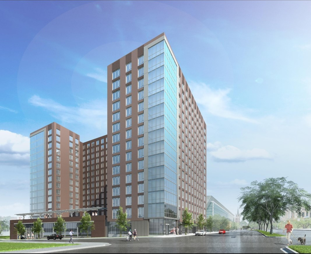 An artist rendering of The Edge, the proposed 15-story apartment building at 1401 Assembly St.