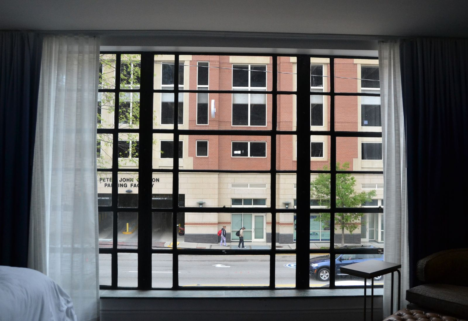 A large window in Hotel Trundle's master suite offers an expansive view of Taylor Street. (Photo/Melinda Waldrop)